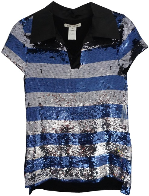 Item - Blue Silver Black & Sequin Sleeve Striped Tunic Short Night Out Dress Size 2 (XS)