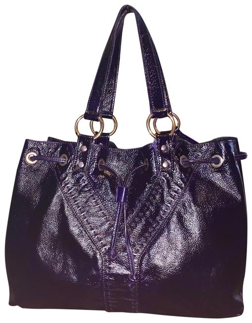 Item - Reversible Neo Double Purple Black Calfskin Leather Tote