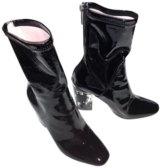 """Item - Black Christian Stretch Patent Lucite Heel """"Crystal"""" Boots/Booties Size EU 36.5 (Approx. US 6.5) Regular (M, B)"""