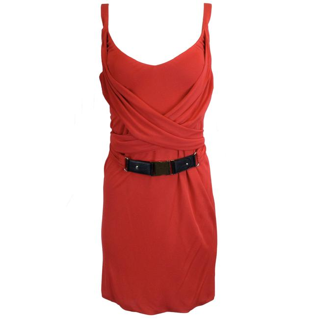 Item - Red Sleeveless Belted Viscose Formal Dress Size 4 (S)