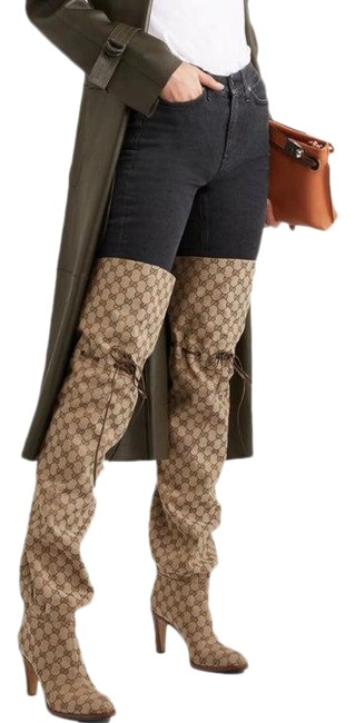 Item - Tan Gg Supreme Canvas Thigh High Boots/Booties Size EU 36.5 (Approx. US 6.5) Narrow (Aa, N)