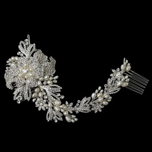 Silver Freshwater Pearl and Rhinestone Comb Hair Accessory
