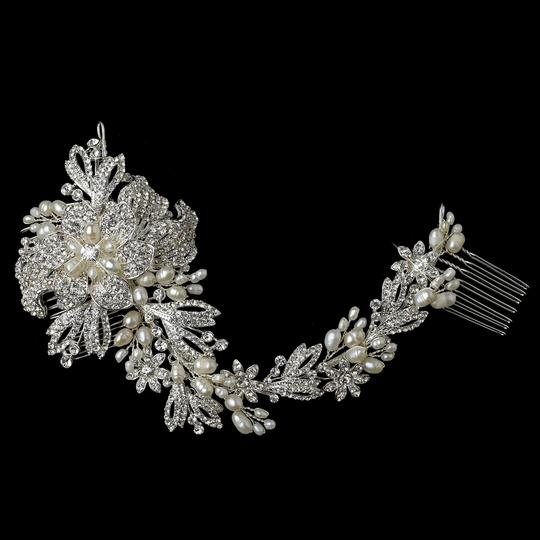 Silver Freshwater Pearl and Rhinestone Comb Hair Accessories
