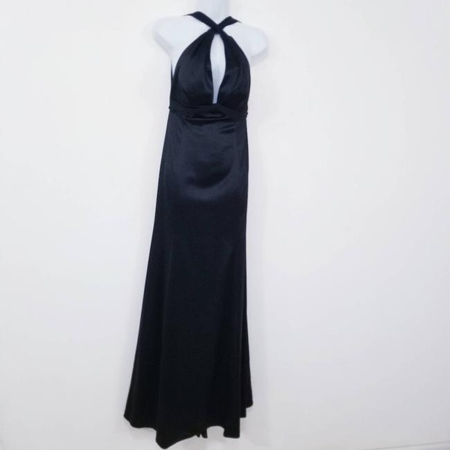 Item - Black Sateen Gown Formal Bridesmaid/Mob Dress Size 8 (M)