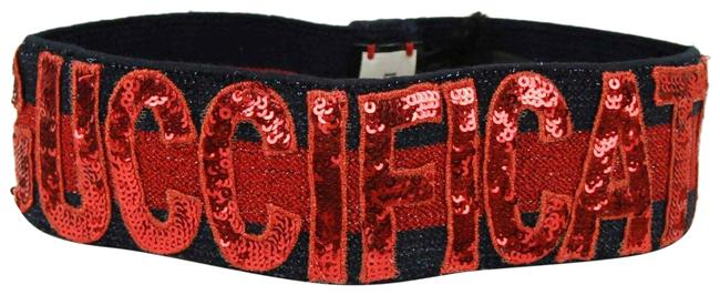 """Item - Blue/Red Sequin Patches """"fication"""" Headband M/57 499679 4174 Hair Accessory"""
