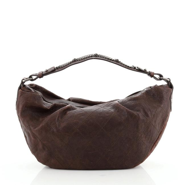 Item - Outdoor Ligne Caviar Small Brown Leather Hobo Bag