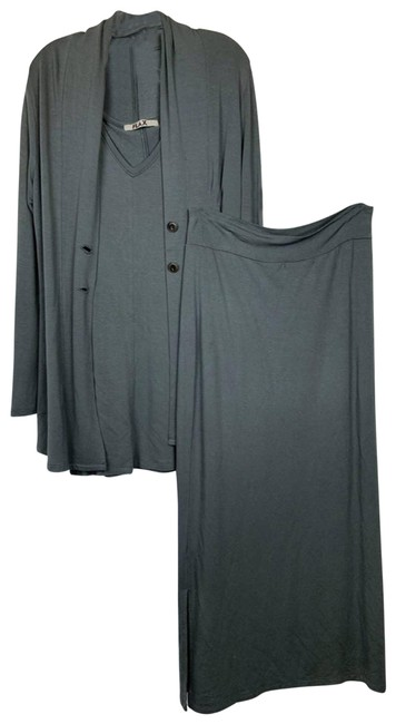 Item - Gray 3 Piece Set Rayon Spandex Small Skirt Suit Size 6 (S)