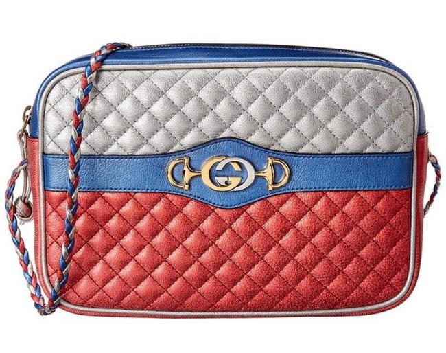 Item - Horsebit Gg Logo Trapuntata Camera Quilted Red Blue Silver Leather Cross Body Bag