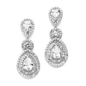 Silver Stunning Brilliant Crystal Statement Earrings