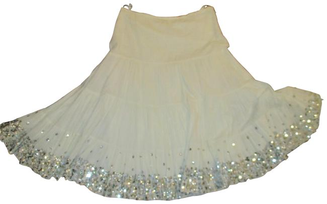 Item - White & Silver Sweet Tiered Boho Sequined Cotton Skirt Size 14 (L, 34)