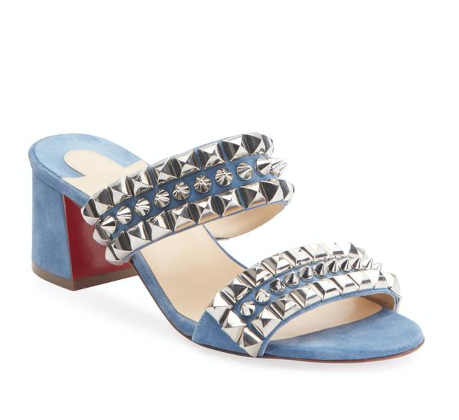 Item - Blue Tina Goes Mad 55mm Jeans Silver Studded Spiked D252 Sandals Size EU 37.5 (Approx. US 7.5) Regular (M, B)