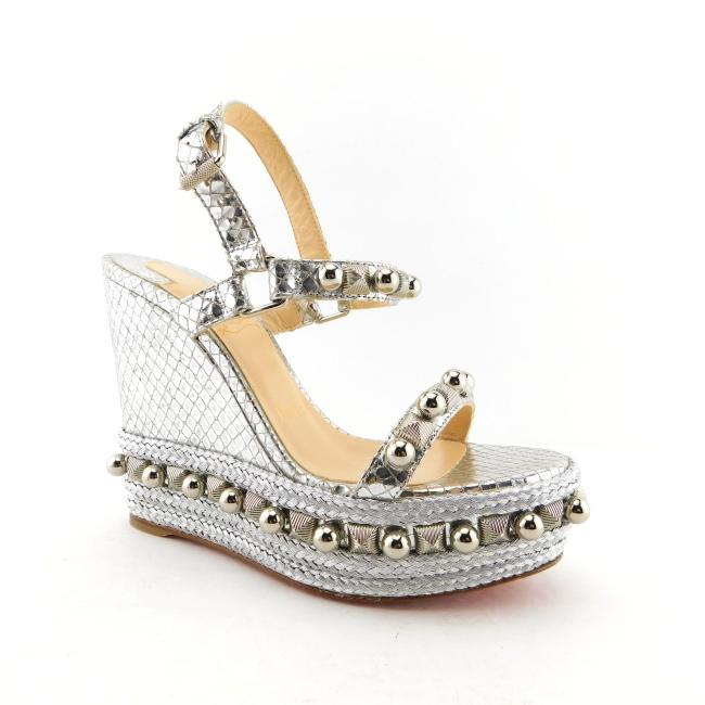Item - Silver Snake Metallic Leather Studs & Ball Ornaments Embellished Wedge Heel Sandals Size EU 35 (Approx. US 5) Regular (M, B)