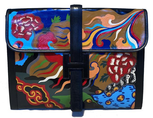 Item - Hand Painted Jige 35 Black Leather Clutch
