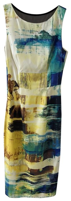Item - Yellow/Multi Mid-length Night Out Dress Size 4 (S)
