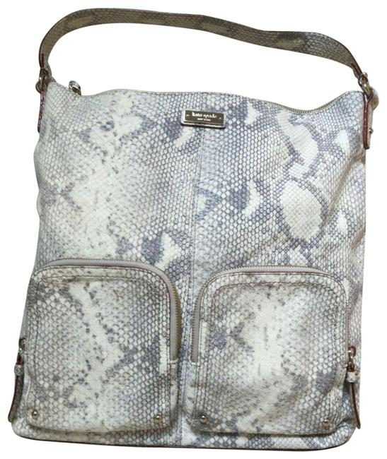 Item - Handbag Ginnifer La Casita Snake Print Gray and White Leather Hobo Bag
