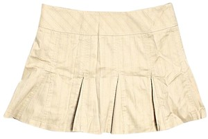 BCBGMAXAZRIA Pinstripe Khaki Pleated Mini Skirt Beige