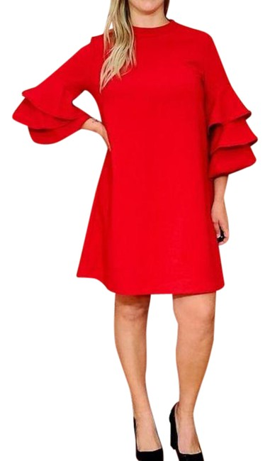 Item - Red Ruffle Sleeve Cocktail Dress Size 10 (M)