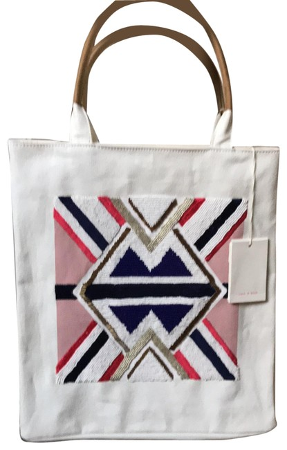 Item - Canvas Leather Handles Natural with Navy Rose Gold and Bronze Design Cotton Tote