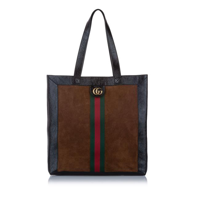 Item - Bag Large Ophidia Suede Brown Patent Leather Tote