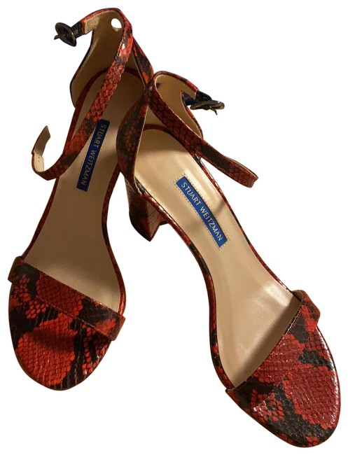 Item - Red/Black Snake Skin Print Sandals Pumps Size US 7.5 Regular (M, B)