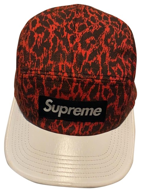 Item - Red Ss13 Leopard with White Leather Brim Hat