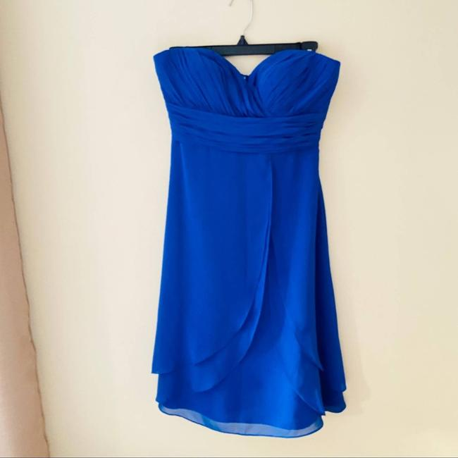 Item - Blue Sweetheart Strapless Formal Bridesmaid/Mob Dress Size 4 (S)