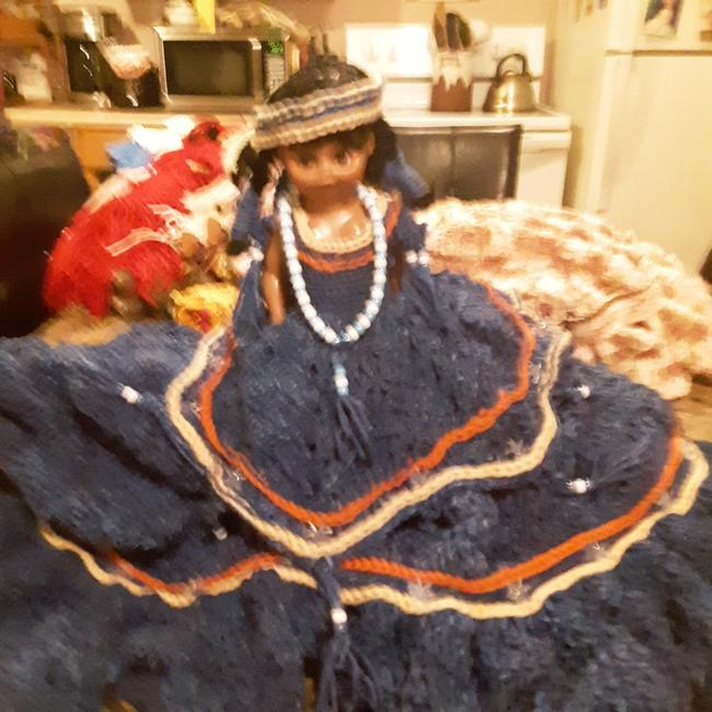 Item - Blue with Orange and Tan Stripes Indian Doll Papoose On Her Back