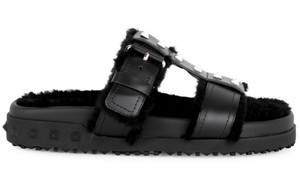 Item - Black Rockstud Shearling Fur Leather Caged Mule Slip On Slide Flat Sandals