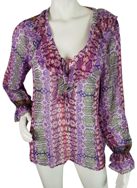 Item - Pink Purple Sheer Long Sleeve Ruffle Front Pullover Tie Neck Blouse Size 8 (M)