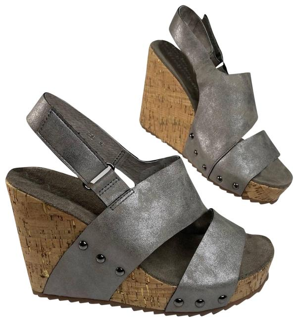 Item - Silver Nwot Leather Wedge Sandals Size EU 36 (Approx. US 6) Regular (M, B)