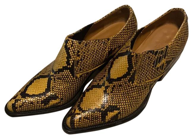 Item - Yellow Snake Embossed Boots/Booties Size EU 38.5 (Approx. US 8.5) Regular (M, B)