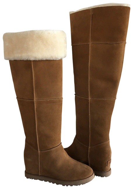 Item - Chestnut Brown Femme Over The Knee Suede Shearling Boots/Booties Size US 7 Regular (M, B)