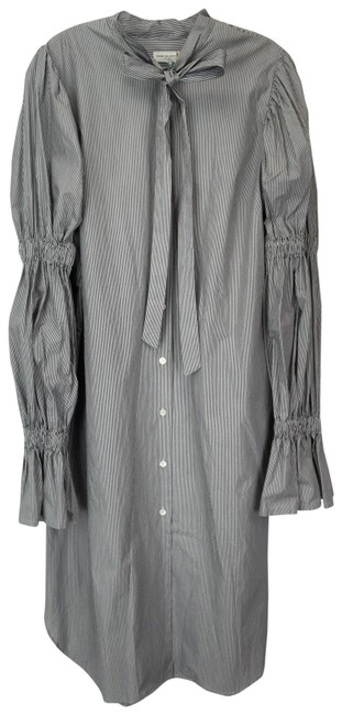 Item - Grey White 40(8) Pinstriped Short Tie Neck Long Casual Maxi Dress Size 8 (M)