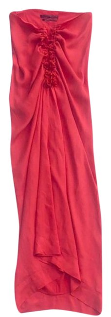 Item - Coral Silk Japanese Cloth Midi Halter Mid-length Night Out Dress Size 4 (S)