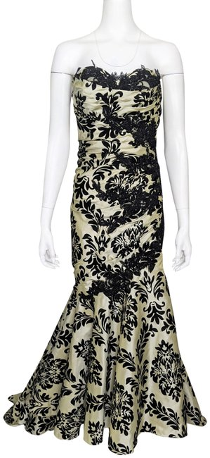 Item - Beige & Black Flocked Taffeta Strapless Ruched Mermaid Gown with Train Long Formal Dress Size 2 (XS)