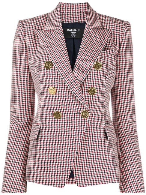 Item - Multi Pattern New Reduced Houndstooth Double-breasted Wool Jacket Blazer Size 6 (S)