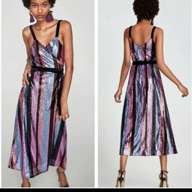 Item - Striped Multi-color Sequin Night Out Dress Size 8 (M)