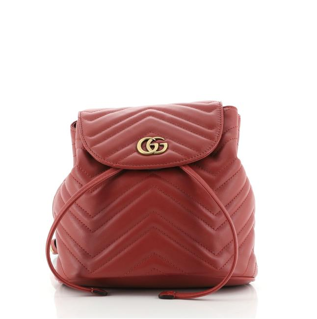 Item - Drawstring Marmont Gg Matelasse Mini Red Leather Backpack