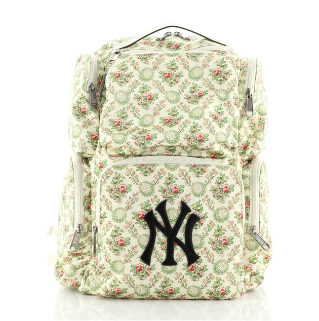 Gucci Mlb Front Pocket with Applique Green Neutral Print Satin Backpack Gucci Mlb Front Pocket with Applique Green Neutral Print Satin Backpack Image 1