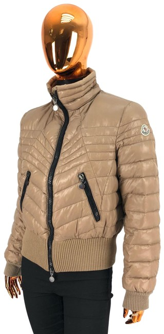 Item - Beige W Womens Polyester Bomber Puffer / Down Jacket Logo Coat Size 12 (L)