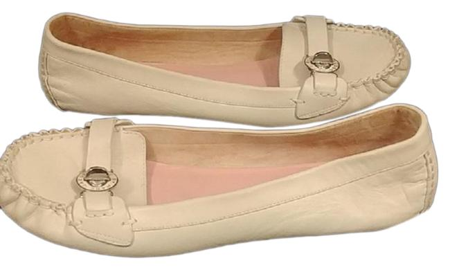 Item - Cream By White Leather Driving Loafer Flats Size US 9.5 Regular (M, B)