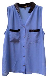 Coolwear Periwinkle Sheer Faux Leather Out High Low Nice Pockets Button Down Chiffon Top Pale Blue, light blue, black