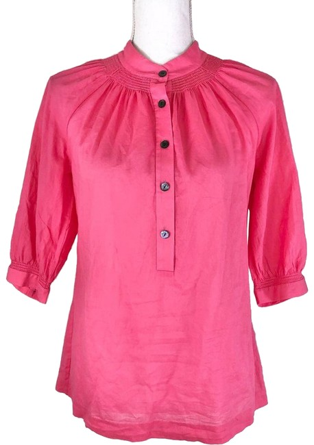 Item - Pink Button Down Peasant Lightweight Women Blouse Size 0 (XS)