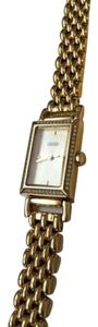 Coach Coach rectangular gold plated watch