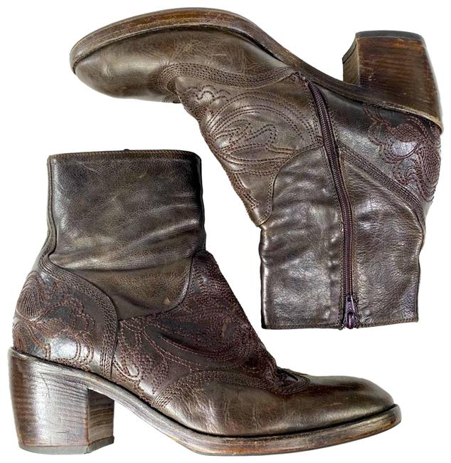 Item - Brown Leather Zip Embroidered Boots/Booties Size EU 39 (Approx. US 9) Regular (M, B)