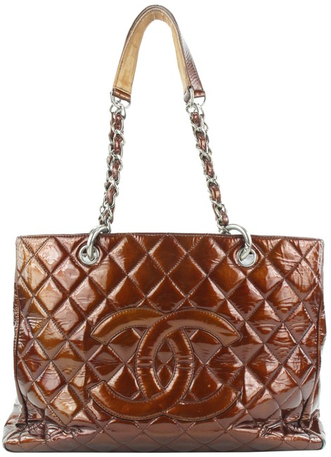 Item - Shopping Tote Quilted Grand 196ccs29 Bronze Patent Leather Shoulder Bag