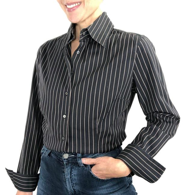 Item - Grey Pink Pinstripe Button Up Blouse Menswear Classic Fit Button-down Top Size 8 (M)