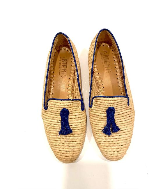 Item - Natural W Raffia Loafer W/ Blue Trim Flats Size EU 39 (Approx. US 9) Regular (M, B)