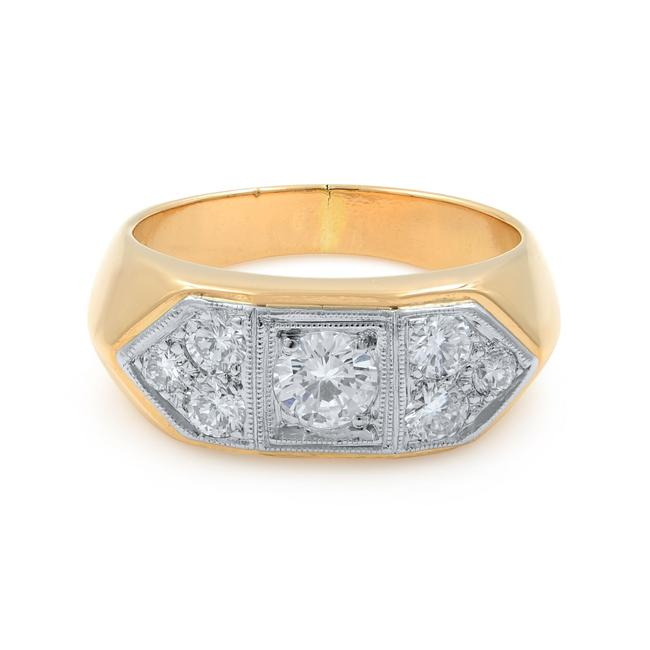 Item - 18k Yellow Gold Men's with Round Cut Diamonds 1.35cttw Ring