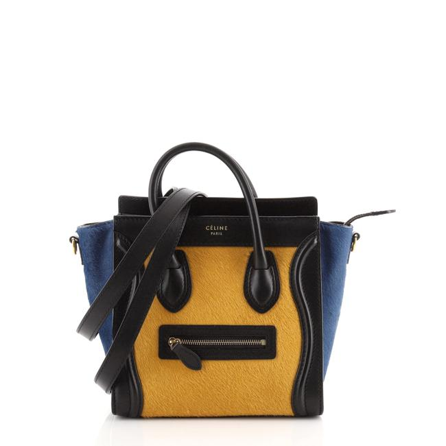 Item - Luggage Tricolor And Blue Multicolor Yellow Leather Pony Hair Tote